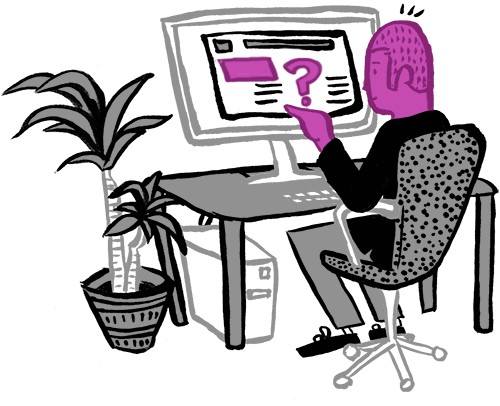 Illustration of a purple man checking out a site