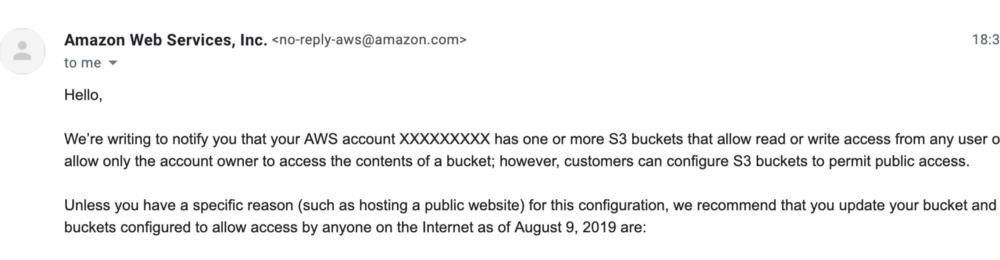 email from AWS warning against S3 buckets with public access