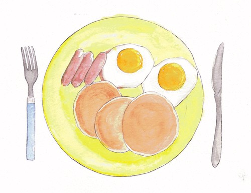 An illustration of sausage, pancakes, and eggs.