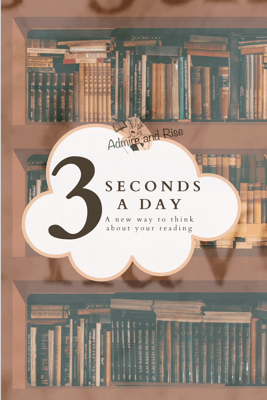 """cloud titled, """"3 seconds a day, a new way to think about your reading"""" floating on a bookshelf, words flashing on the screen"""