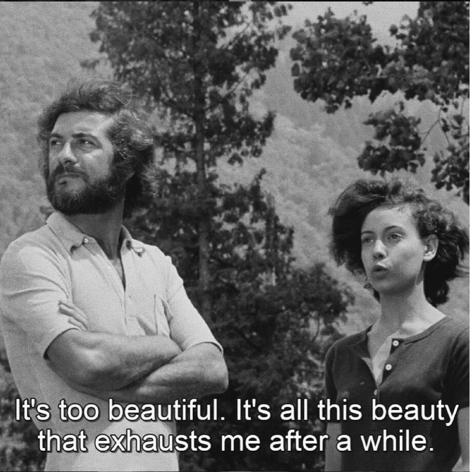 Screenshot from Éric Rohmer's 1970 film Claire's Knee. A man and a young woman stand surrounded by trees, looking off into the distance. The subtitle reads: It's too beautiful. It's all this beauty that exhausts me after a while.