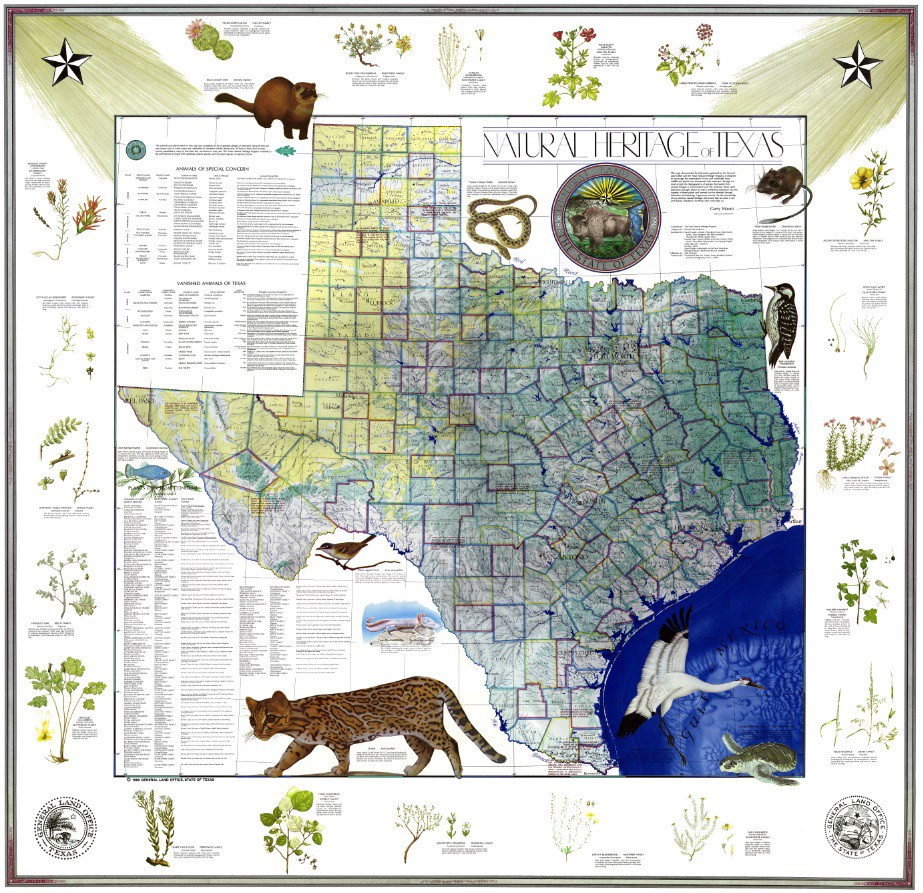 Texas General Land Office Maps My Favorite Map: The Natural Heritage Map of Texas, 1986