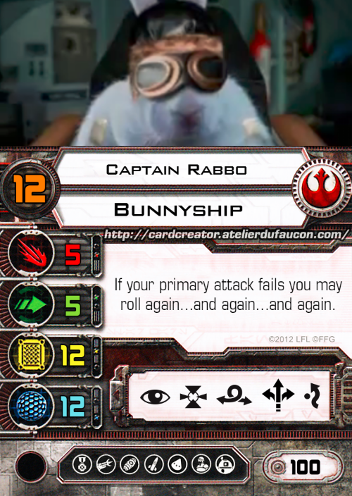 A doctored X-wing Minis game character card showing the pilot Captain Rabbo, a white rabbit wearing flight goggles.