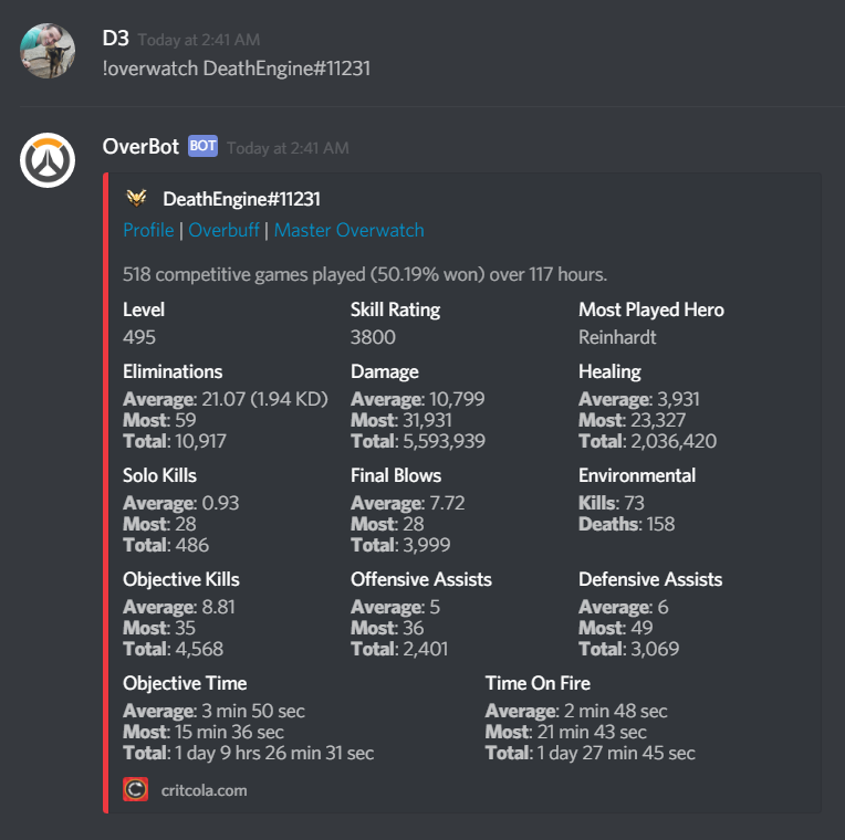 5 Great Discord Bots for Overwatch - Chatbots Life