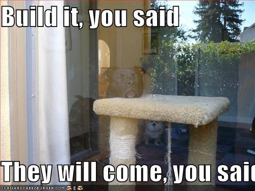 """Image of dog wistfully waiting next to a new cat habitat, captioned """"Build it, you said. They will come, you said."""""""