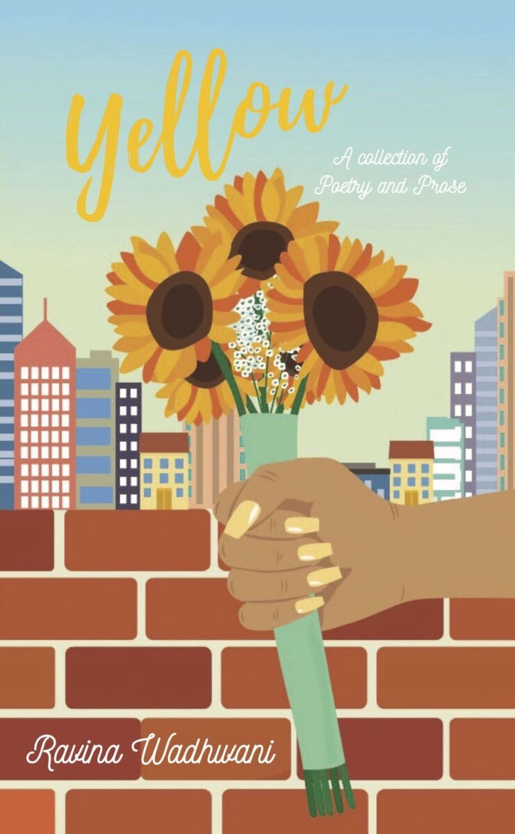 Cover of Ravina Wadhwani's poetry collection Yellow. A brown skinned hand holding a bouquet of sunflowers in front of a cityscape.