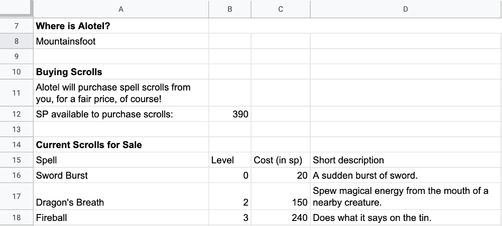 Over-Engineering Google Sheets for Dungeons and Dragons