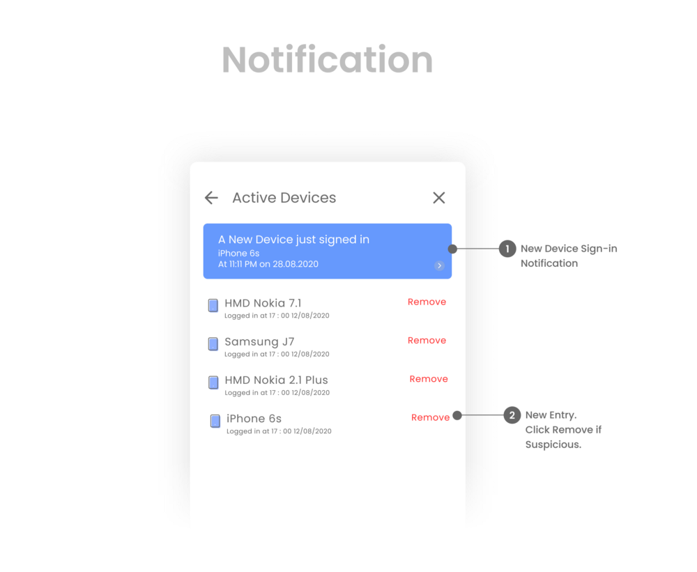 Use of notification and prompts to have more control over your account