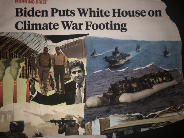"""Collage of images portraying future climate wars as John Kerry supports the military and """"ends"""" emissions"""