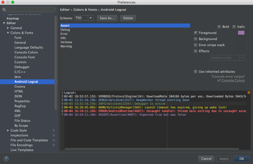 Android Studio]How to change logcat color - Ted Park - Medium