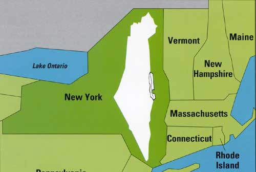 Map of Israel overlaid on NY state, taking up less than half the land.
