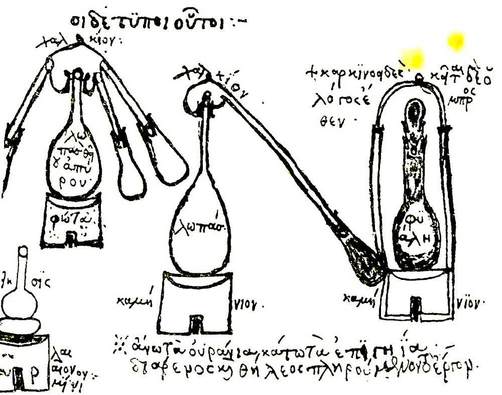 Ancient black and write drawing of strange looking lab equipment