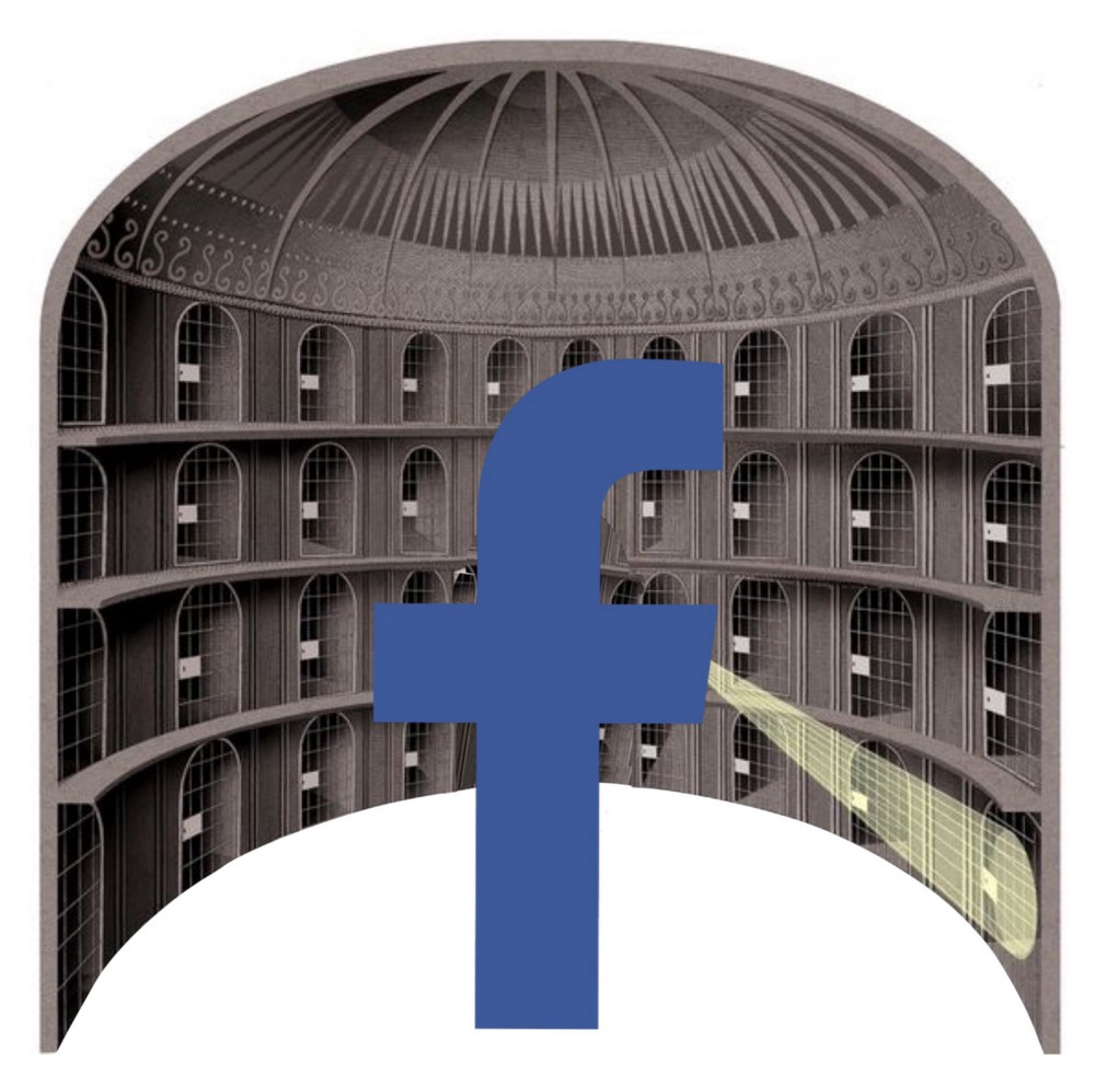 IMAGE: Facebook's big F in the middle of Jeremy Bentham's design for his panopticon prison