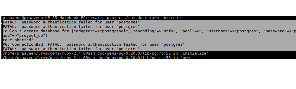 Rails postgres error authentication failed - Praaveen Vr
