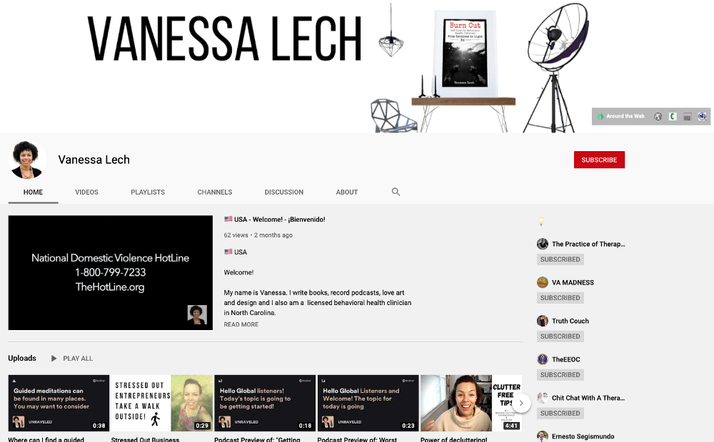 Screen Shot of My YouTube Channel