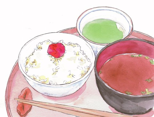 An illustration of a Japanese meal with pickles.