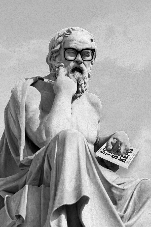Statue of Socrates holding a Sharpie and a book