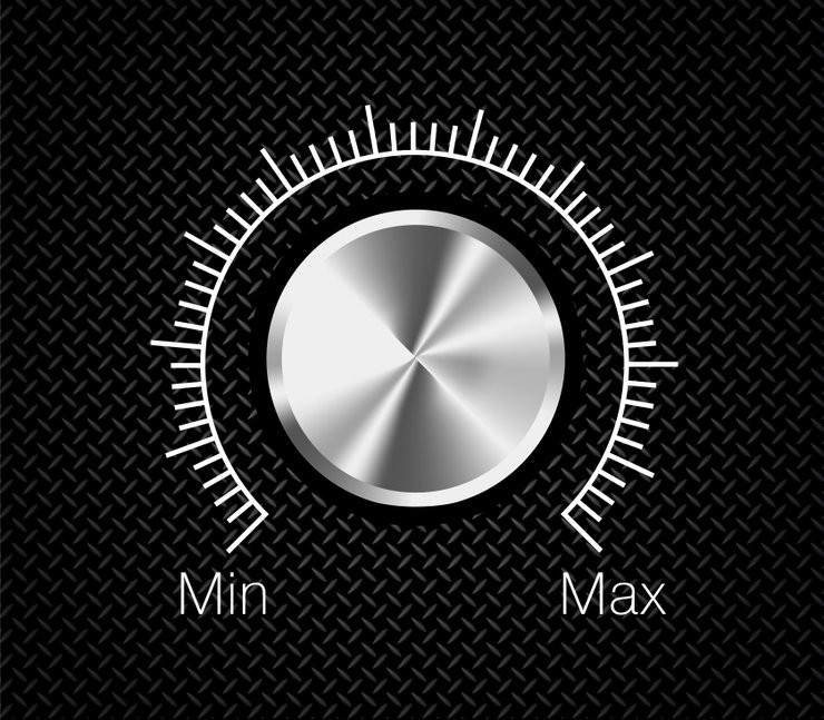 Black background with silver volume button, white graded marks from minimum to maximum.