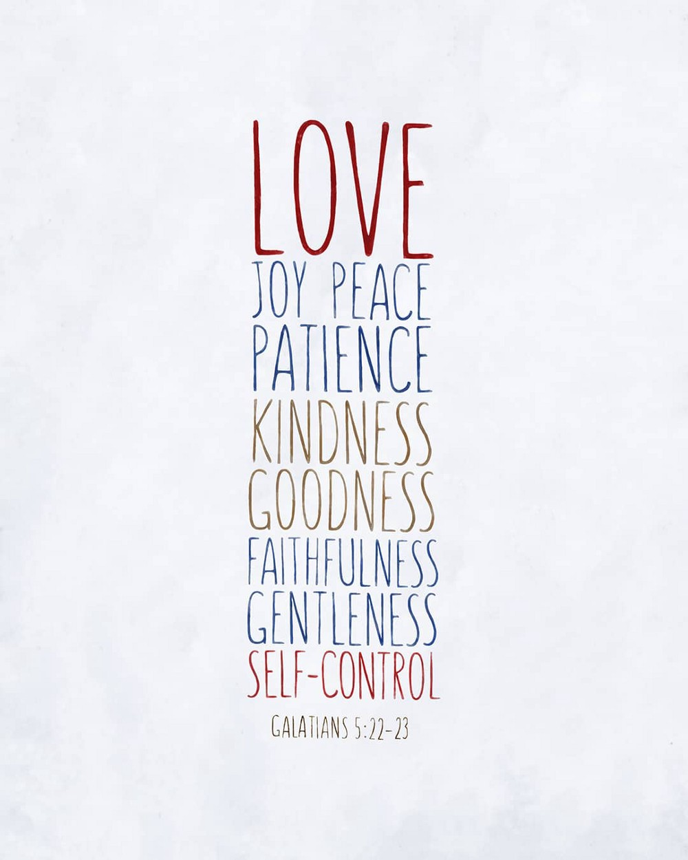 love, joy, peace, patience, kindness, goodness, faithfulness, gentleness, self-control—small voice today