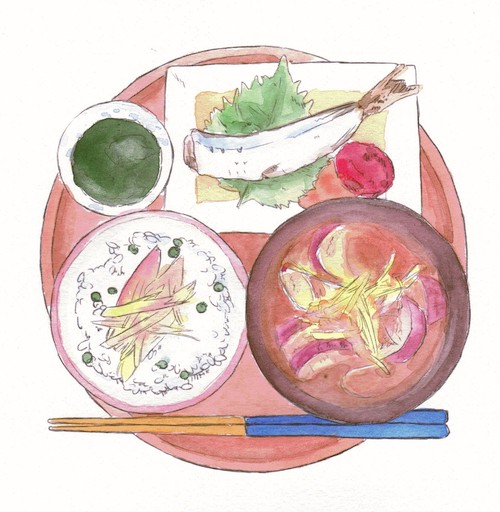 Watercolor illustration of an aerial view of a serving tray with 2 bowls of food, a dipping bowl with sauce, & a plated fish.