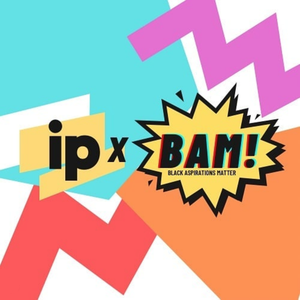 The IP and BAM logos in yellow and black on top of a turquoise, white, magenta, red, and orange background.