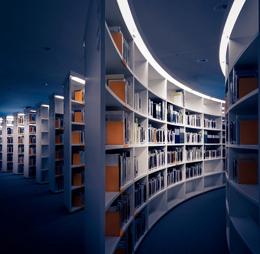 Bookshelves filled with books, with no people in sight.