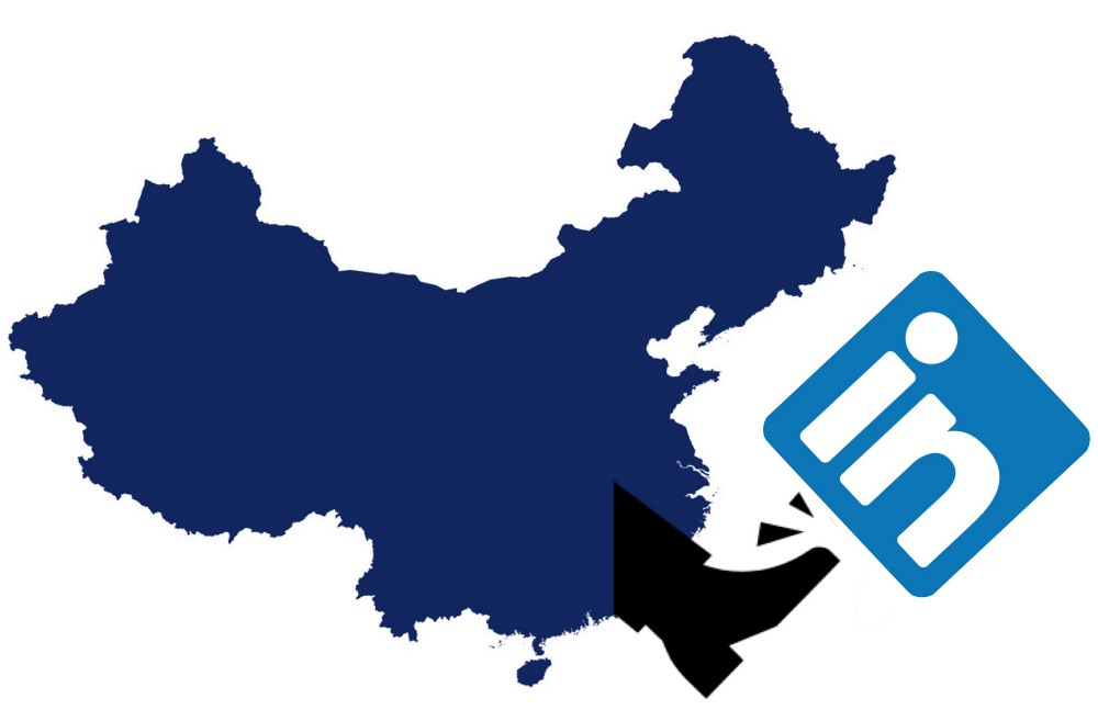 IMAGE: A map of China with a foot kicking the LinkedIn icon away
