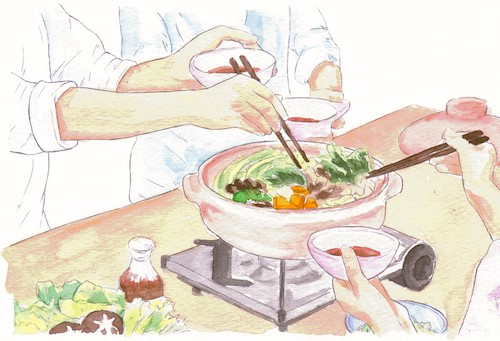 A trio of hands sharing hotpot.