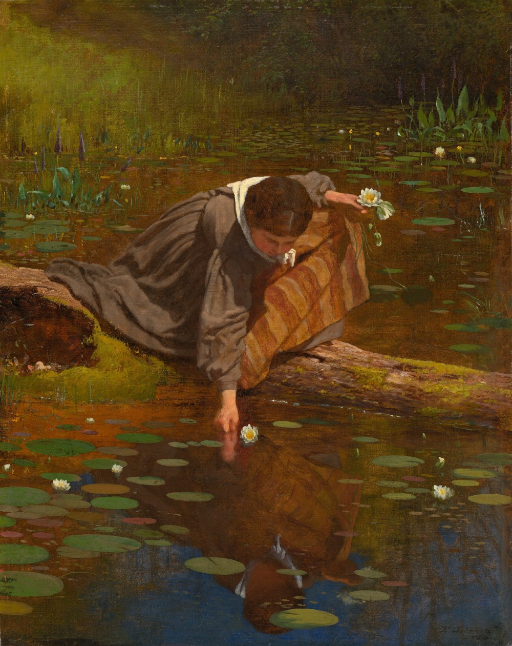Painting of a girl collecting lilies from a pond by Eastman Johnson. Painted in 1865. Oil on board.