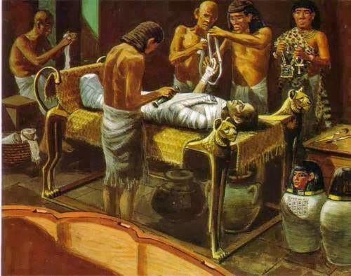 A painting showing ancient Egyptians performing a mummification ritual