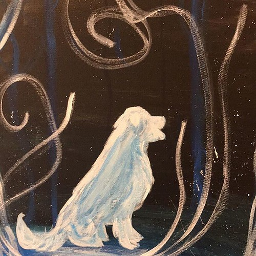 Painting of a white dog with swirls around it.