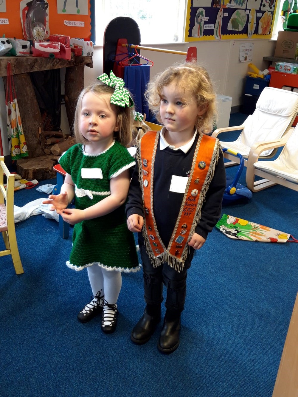 Glass water Preschool and Loughinisland Preschool, Co Down joint St Patrick's Day event learning about different cultures and music. ©2019 Early Years.