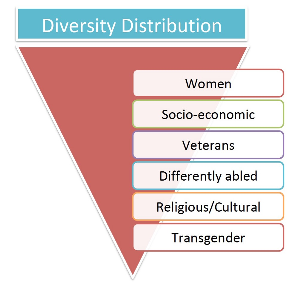 Based on the diversity distribution in India, the transgender and gender non-binary folks are in the bottom of the pyramid.