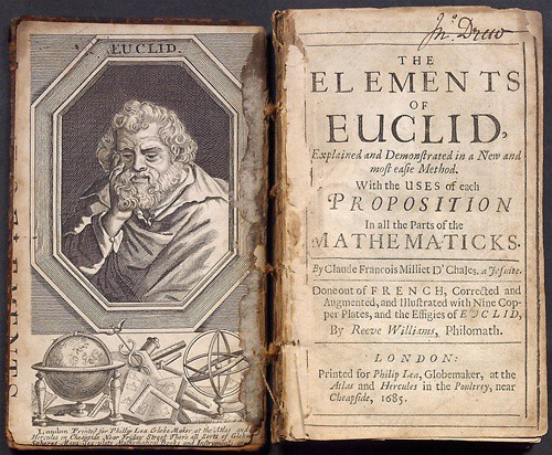 "Open book with an engraving of Euclid on the flyleaf and a title page reading ""The Elements of Euclid"""