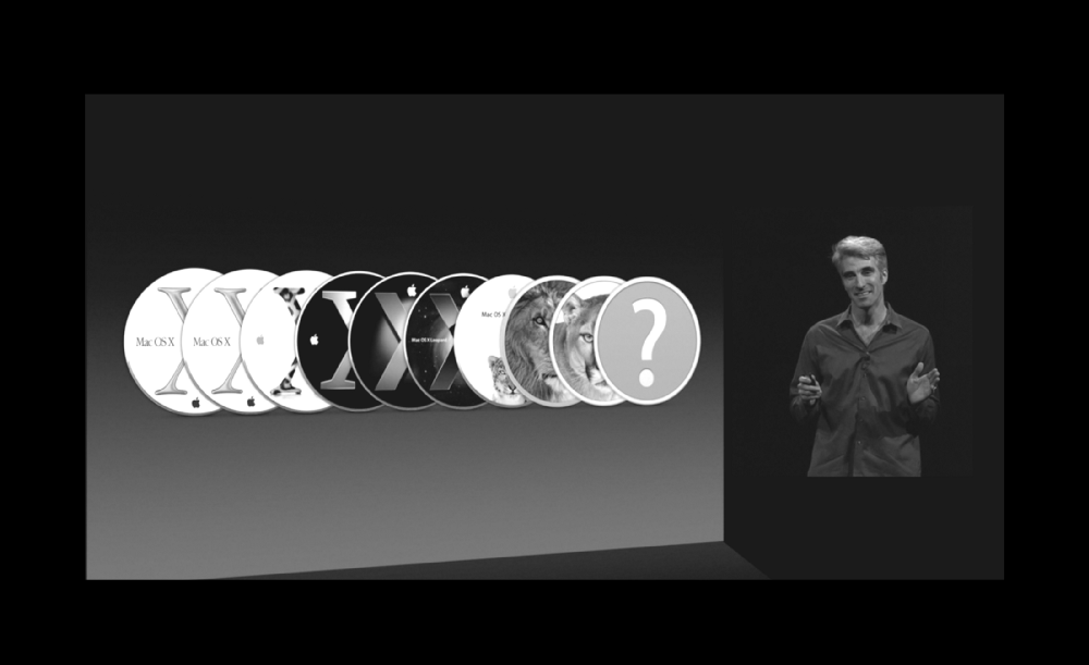 Apple's Senior Vice President of Software Engineering, Craig Federighi unveiling California themed OS X naming at WWDC 2013.