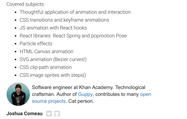 More Details on our Whimsical Web Animations Workshop with Josh Comeau