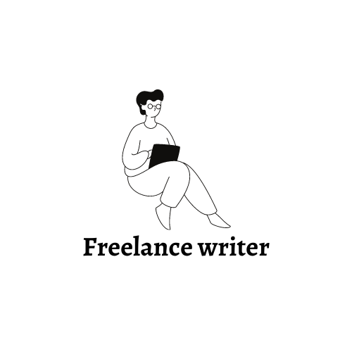 "A logo with a woman seated, holding a laptop. She is perched upon the words ""Freelance Writer"""