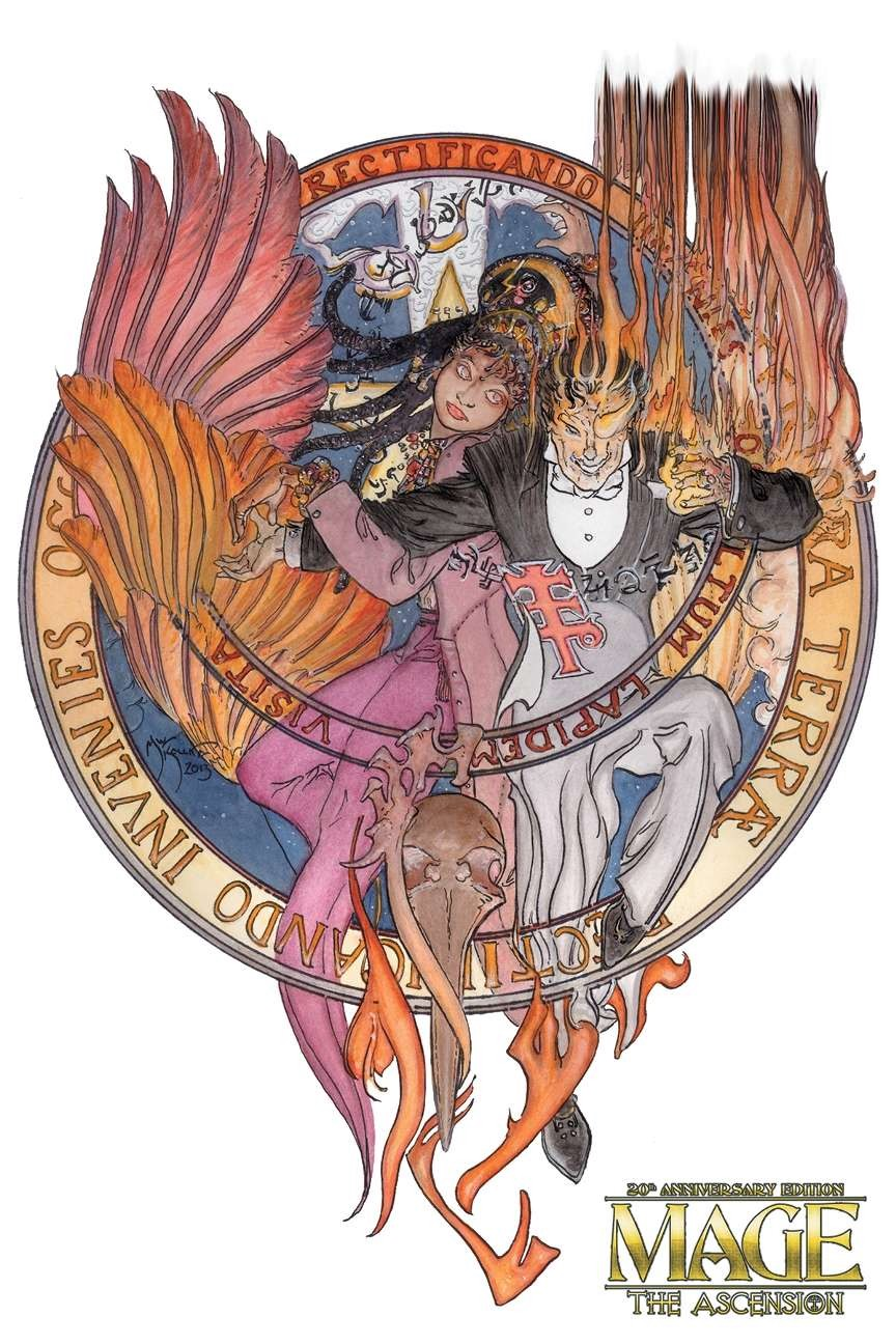 A man and woman posing within a magical seal, surrounded with arcane symbols. There are arcane words around the seal's rim.