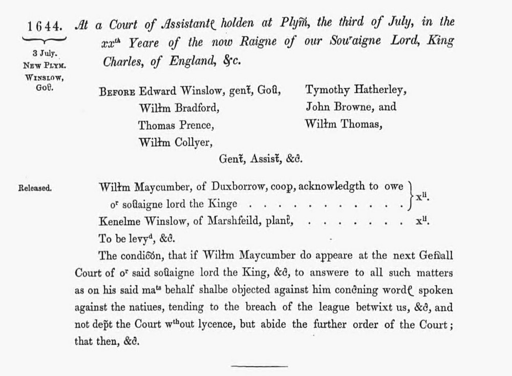 A page view from the Plymouth Colony records showing William Maycumber being fined for speaking against the Indians in 1644.