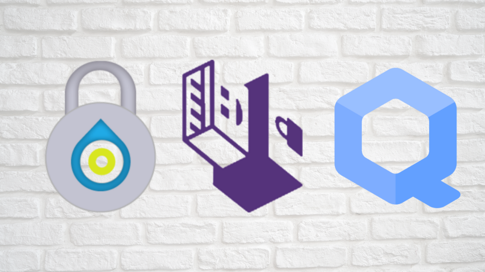 Banner displaying the Whonix logo (combination dial lock), Tails logo (USB interface), and Qubes logo (large blue Q).