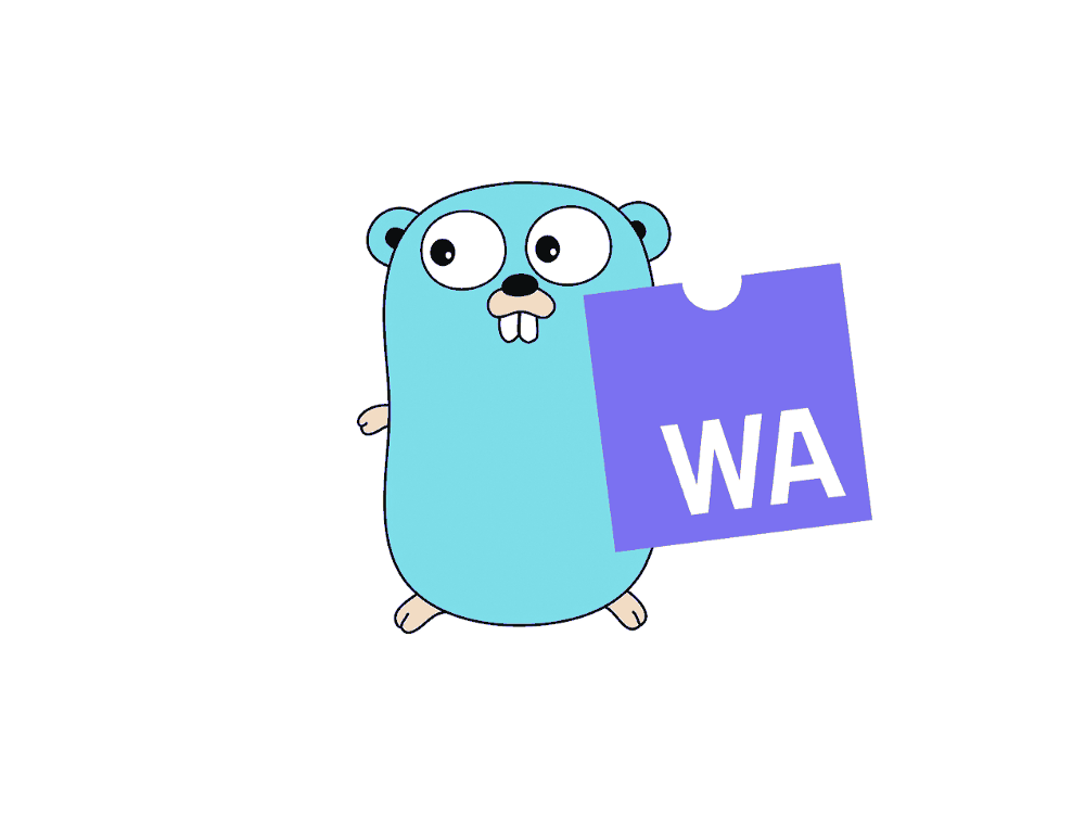 A golang gopher holding the WebAssembly jigsaw puzzle piece logo