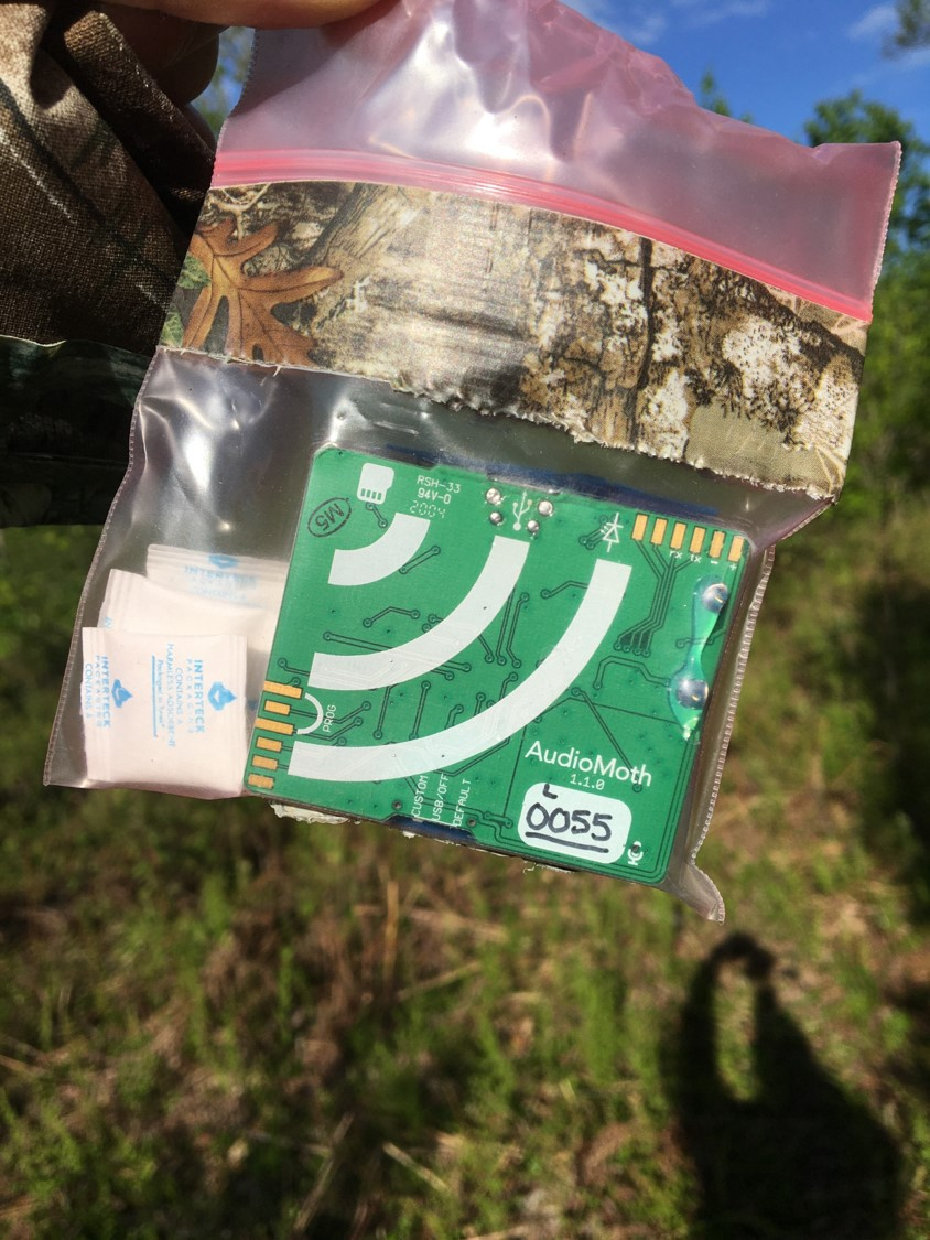 A plastic bag holding a small circuit board