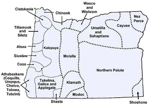 Map of Oregon with names and regions of Native Tribes