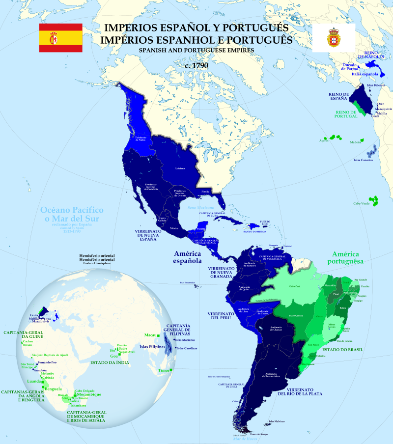 Map of Americas Ruled by Spanish and Portugese Colonies in 1790