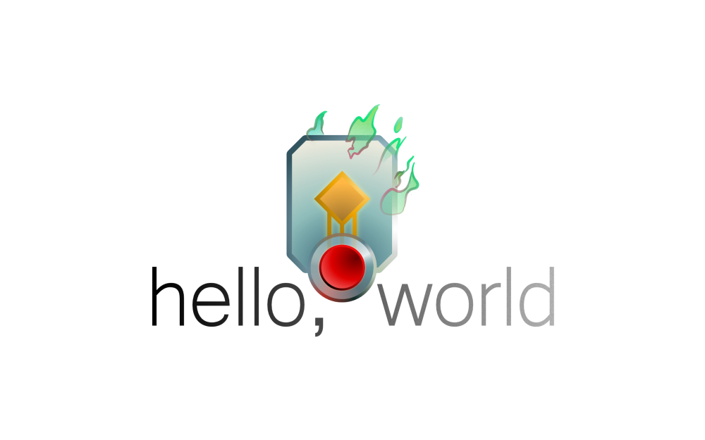 hello, world's logo, with the text in grey and a small icon
