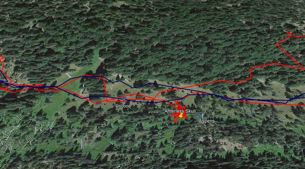 The red line indicates the steps of a poacher on Sept. 17, 2016. Special agent Kathy Spengler was able to follow the path to find evidence of a poached elk in Crater Lake National Park. The blue line indicates his path on Sept. 4, 2016.