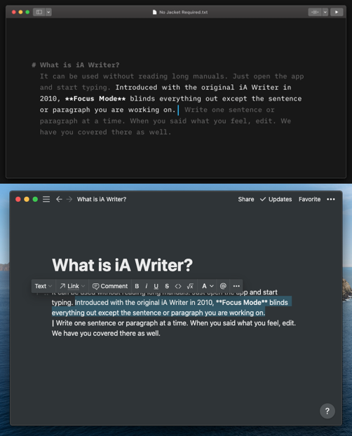 user interface of both iAWriter and Notion