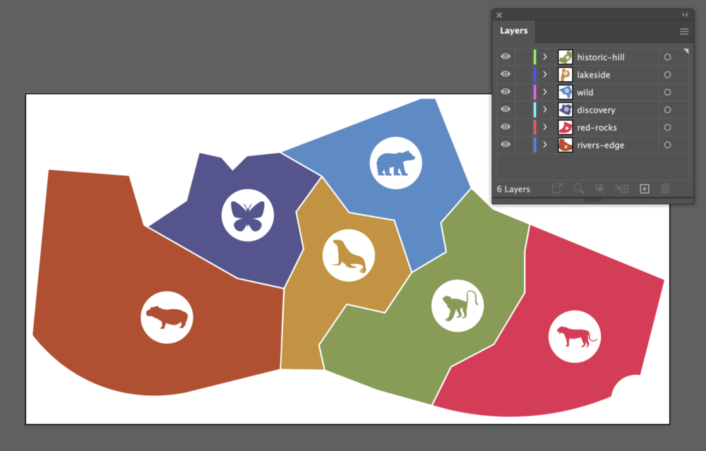 SVG map inside Adobe Illustrator with six layers. Each layer contains the graphic elements composing a separate zone on the map.