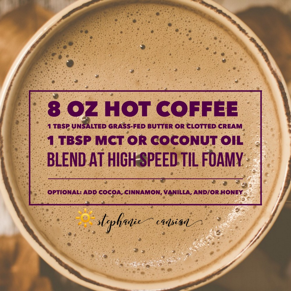 Background is a foamy cup of coffee with purple text describing a bulletproof coffee recipe, created by Stephanie Cansian.