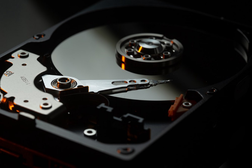 The inside of a hard drive is exposed